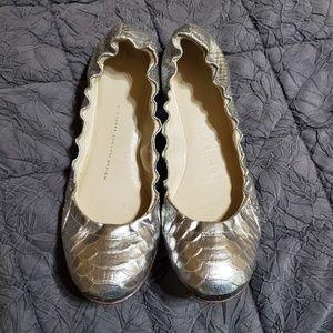 GIUSEPPE ZANOTTI silver python ballet flats